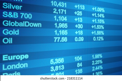 Background business, abstract image of a computer screen of Global Markets