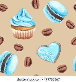 Background cakes and coffee. Cupcake, macaron, shortbread. Seamless pattern. Watercolor illustration.