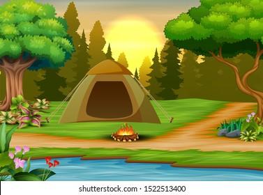 Background of campsite on sunset landscape illustration