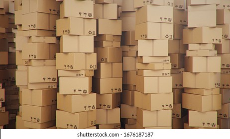 Background of cardboard boxes inside warehouse, logistic center. Warehouse filled with cardboard boxes. Mess in the warehouse, 3D illustration