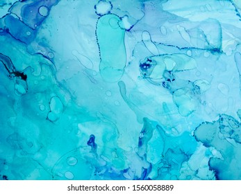 Background for Cards. Dark blue and White color Splatter. Clear water Lines. Contrast Ink Splatter. Aquamarine Spray Alcohol ink. Alcohol Ink Stains. Blue Abstract.