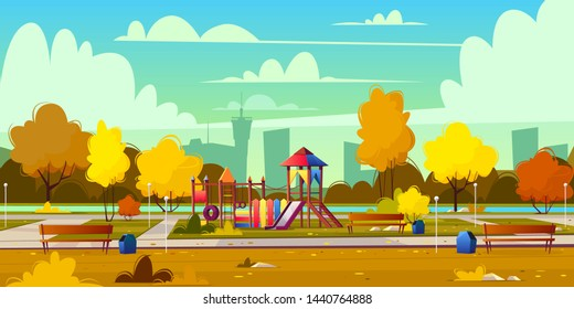 background of cartoon playground in park at fall. Autumn landscape with yellow trees, plants and bushes. Recreation area with trackway for people. Amusement space with swings, benches and pond.
