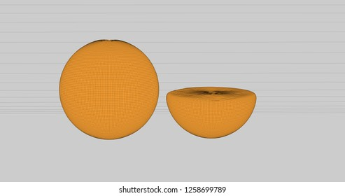Background in a cartoonish style of slice oranges. 3D Illustration.