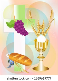 background with the characteristic symbols of holy communion
