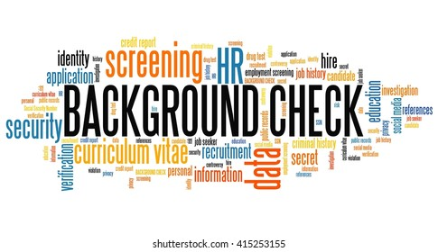 Background check - career screening. Word cloud concept.