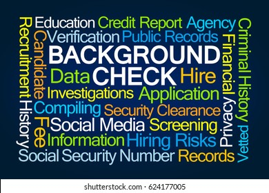 Background Check Word Cloud on Blue Background