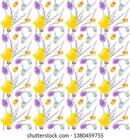 Background with chicken, Easter eggs and willow branches. Hand drawing. For print. Scrapbook paper.