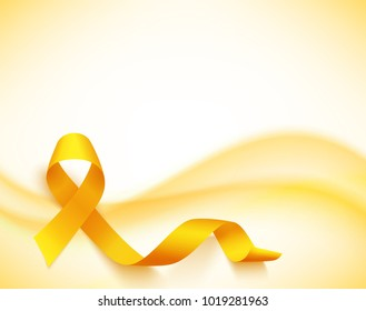 Background for childhood cancer awareness day, with synbol realistic gold ribbon, illustration