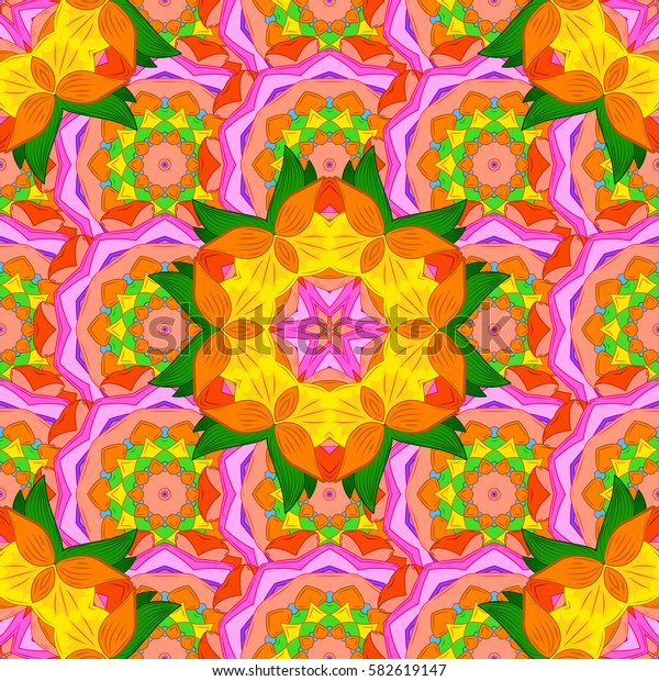 Background. Colored elements. Abstract decorative ethnic mandala sketchy seamless pattern.