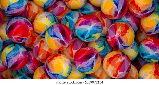 Background of colorful balls. Abstract color holiday 3D rendering illustration. Spheres painted with watercolor paint