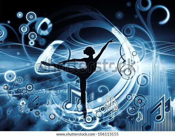 Background composition of  girl silhouette, notes, lights and abstract design elements to complement your layouts on the subject of music, song, performance and dance