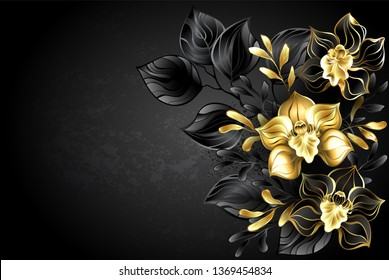 background with composition of jewelry orchids, gold and black decorative leaves.