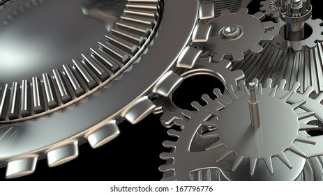 Background composition with metal gears mechanism