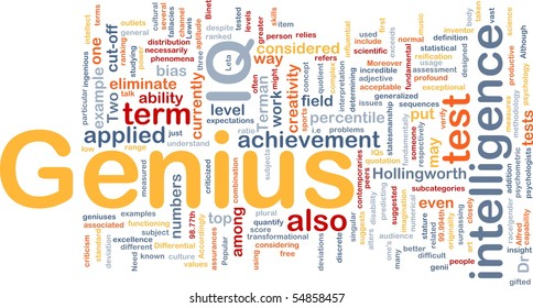 Background concept word cloud illustration of genius intelligence IQ