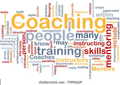 Background concept word cloud illustration of coaching