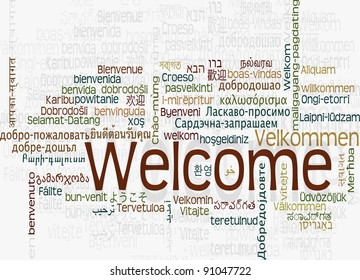 Background concept word cloud illustration of welcome different languages