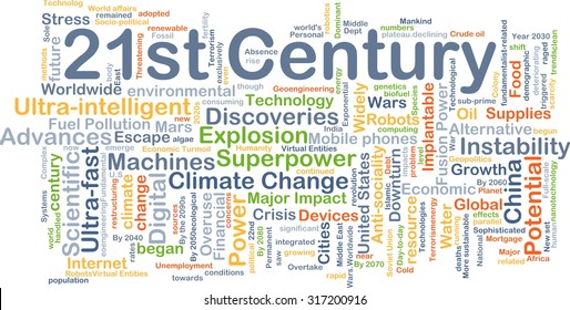Background concept wordcloud illustration of 21st century