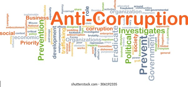 Background concept wordcloud illustration of anti-corruption