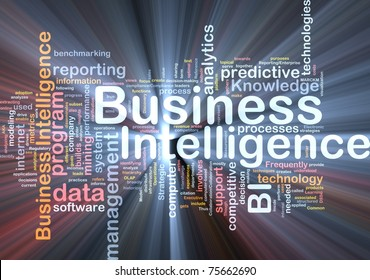 Background concept wordcloud illustration of business intelligence glowing light