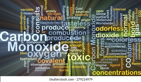 Background concept wordcloud illustration of carbon monoxide glowing light