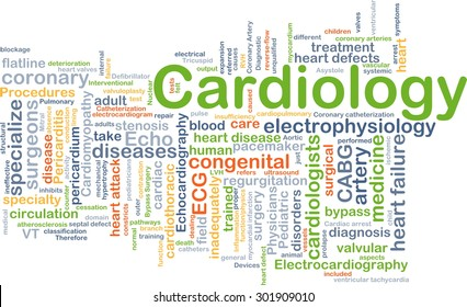 Background concept wordcloud illustration of cardiology