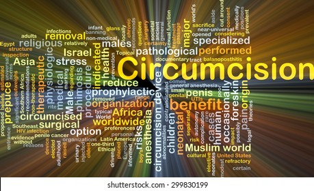 Background concept wordcloud illustration of circumcision glowing light