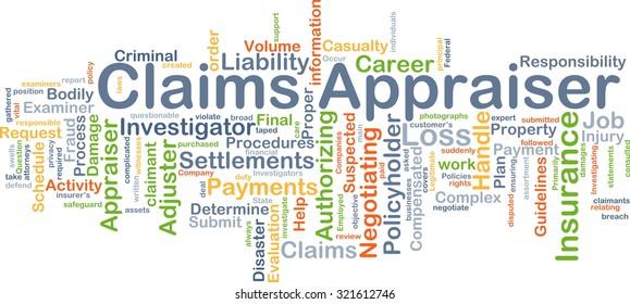 Background concept wordcloud illustration of claim appraiser