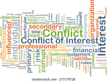 Background concept wordcloud illustration of conflict of interest