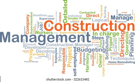 Background concept wordcloud illustration of construction management