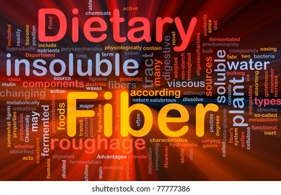 Background concept wordcloud illustration of dietary fiber glowing light