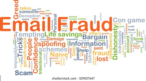Background concept wordcloud illustration of email fraud