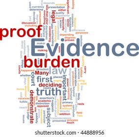Background concept wordcloud illustration of evidence legal proof