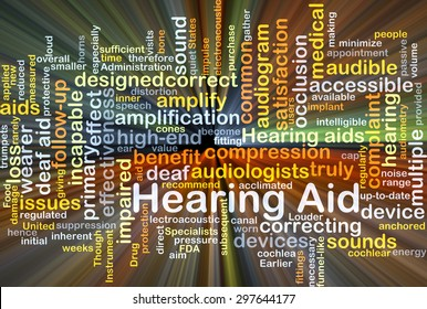 Background concept wordcloud illustration of hearing aid glowing light