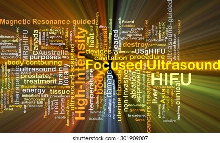 Background concept wordcloud illustration of high-intensity focused ultrasound HIFU glowing light