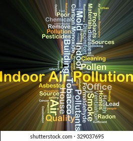 Background concept wordcloud illustration of indoor air pollution glowing light