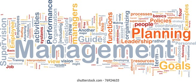 Background concept wordcloud illustration of management