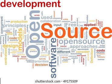 Background concept wordcloud illustration of open source license
