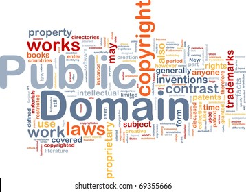 Background concept wordcloud illustration of public domain work