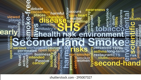 Background concept wordcloud illustration of second-hand smoke SHS glowing light