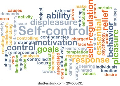 Background concept wordcloud illustration of self-control