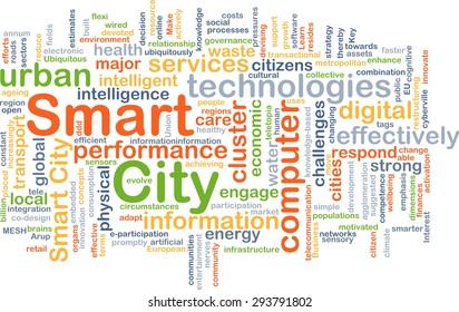 Background concept wordcloud illustration of smart city