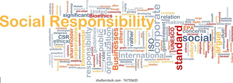 Background concept wordcloud illustration of social responsibility