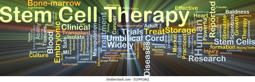 Background concept wordcloud illustration of stem cell therapy glowing light