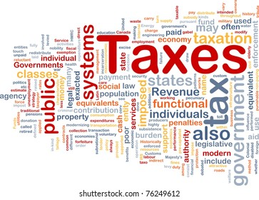 Background concept wordcloud illustration of taxes