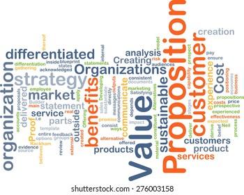 Background concept wordcloud illustration of value proposition