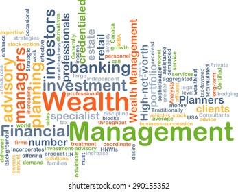Background concept wordcloud illustration of wealth management