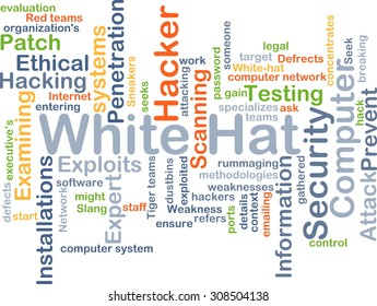 Background concept wordcloud illustration of white hat