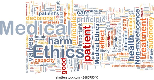 Background concept wordcloud of medical ethics