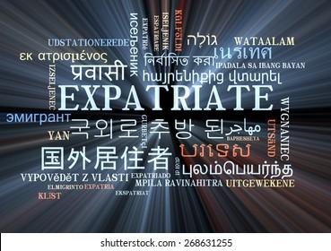 Background concept wordcloud multilanguage international many language illustration of expatriate glowing light