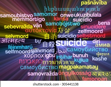 Background concept wordcloud multilanguage international many language illustration of sucide glowing light